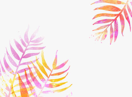 Abstract watercolor imitation tropical palm leaves. Trendy summer vacation background. Orange and pink colored.