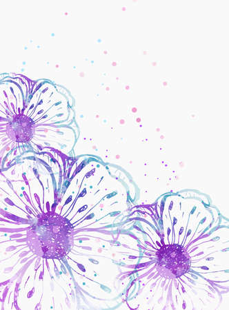 Background with watercolor colorful abstract flowers. Blue and purple colored. Template for your designs, such as wedding invitation, greeting card, posters, etc. Stock Illustratie