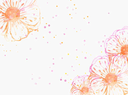 Background with watercolor colorful abstract flowers. Pink and orange colored. Template for your designs, such as wedding invitation, greeting card, posters, etc. Stock Illustratie