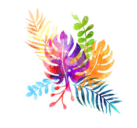 Multicolored abstract watercolor painted botanical leaves.