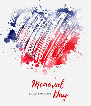 USA Memorial day background. Abstract grunge watercolor flag in grunge heart shape. Template for holiday banner, invitation, flyer, etc. Çizim