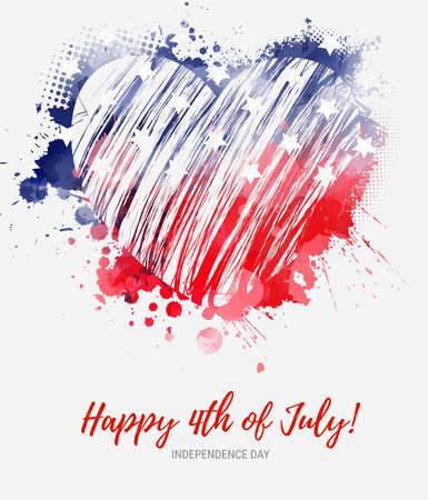 USA Happy 4th of July background - independence day holiday in United States of America. Abstract grunge watercolor flag in grunge heart shape. Template for holiday banner, invitation, flyer, etc.