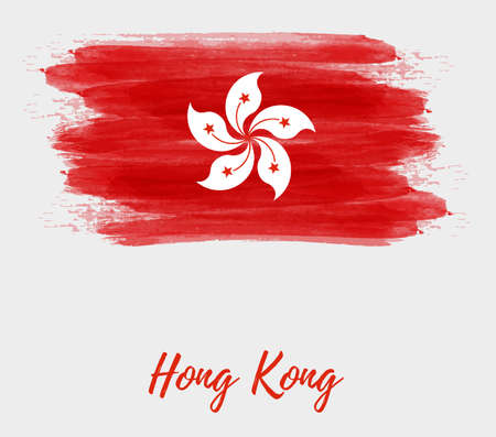 Hong Kong abstract flag. Abstract grunge watercolor flag of Hong Kong. Template background for national holidays,  poster, banner, flyer. etc.