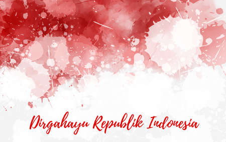 Indonesia Independence day background. Dirgahayu Republik Indonesia. Abstract  watercolor grunge flag. Template for national holidays poster, invitation, banner, flyer, etc. Stock fotó - 127207027