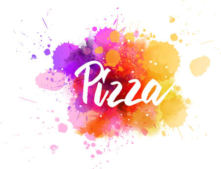 Pizza - handwritten modern calligraphy lettering on multicolored watercolor splashes background Stock fotó - 127207028