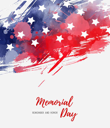 USA Memorial day background. Abstract grunge brushed flag with text. Template for holiday banner, invitation, flyer, etc. Stock fotó - 127207025