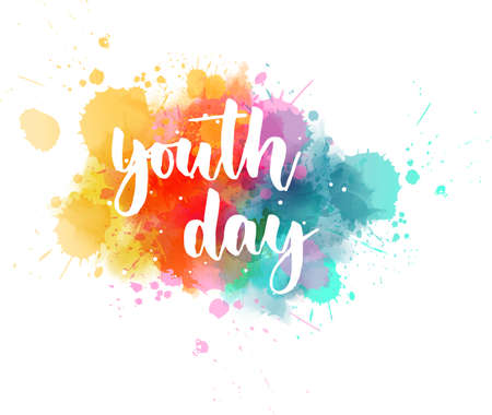 Youth day  - handwritten modern calligraphy lettering on colorful watercolor paint splashes. Template for Youth day holiday.