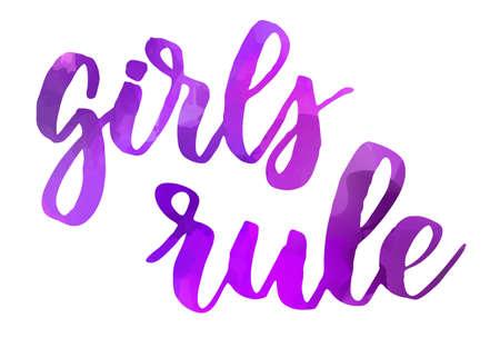 Girls rule - handwritten modern calligraphy motivational lettering text. Stock fotó - 127207041