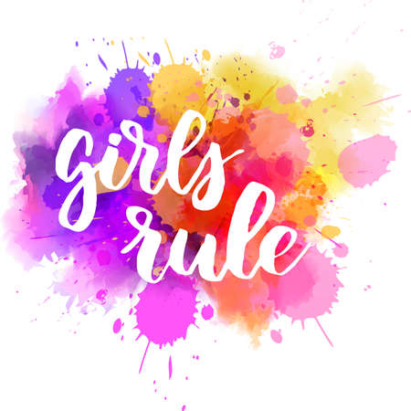 Girls rule - handwritten modern calligraphy motivational lettering text. On abstract watercolor paint splash background. Stock fotó - 127207039
