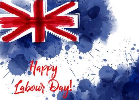 Australia Labour Day holiday. Abstract watercolor grunge splashed Australia flag.  Ilustração