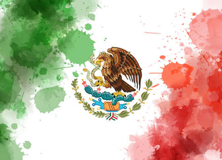 Abstract grunge watercolor painted flag of Mexico. Template for national holiday background.