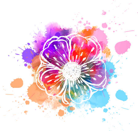 Abstract painted flower on watercolor splashes blot. Template for your designs Stock fotó - 127951706
