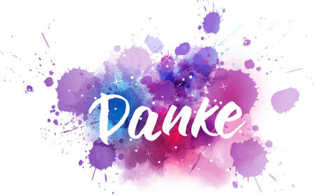 Danke - Thank you in German. Handwritten modern calligraphy lettering text on abstract watercolor paint cosmos splash background. Stock fotó - 127951713