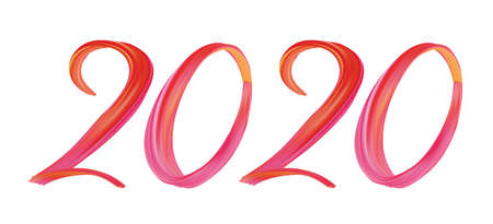 Happy New Year 2020. Abstract painted lettering  text. Stock fotó - 127951717