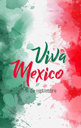 Viva Mexico holiday background with watercolored grunge design. Independence day concept background. Abstract watercolor splashes in Mexico flag colors. Stock fotó - 127951716