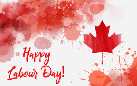 Happy Labour Day! Holiday on Canada. Abstract grunge watercolor Canadian flag. Background template for national holiday.