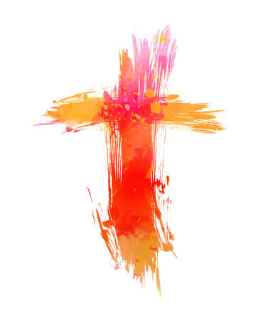 Watercolor painted abstract grunge cross. Faith and Christianity concept design. Orange colored.