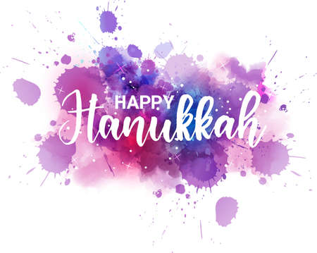 Happy Hannukah  - handwriten modern calligraphy lettering text on abstract watercolor background Ilustrace