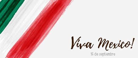 Abstract grunge acquerello dipinto bandiera del Messico. Modello per sfondo festa nazionale. Modello di vacanza banner orizzontale. Viva il Messico! Vettoriali