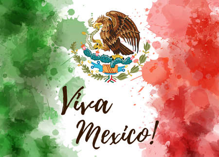 Abstract grunge watercolor painted flag of Mexico. Template for national holiday background. Viva Mexico calligraphy text Stock fotó - 128675306