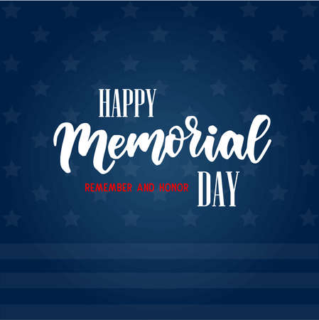 USA Memorial day background. Remember and honor. Handwritten lettering text on dark blue background with stars and stripes pattern. Conceptual USA flag background Stock fotó - 128675302