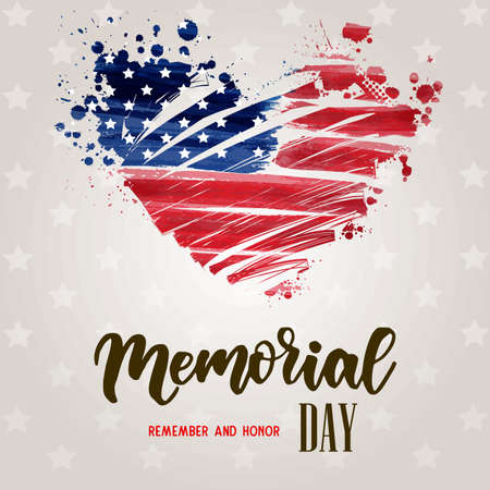 USA Memorial day background. Remember and honor. Handwritten lettering text on brown background with stars pattern. Conceptual USA flag in grunge heart shape. Illusztráció