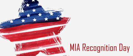 USA National MIA recognition day background.  Grunge abstract flag in star shape. Template for holiday poster, banner, flyer, etc. Ilustração