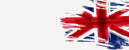 Abstract flag of the United Kingdom. Grunge painted flag with watercolor splashed and brushed lines. Template for horizontal banner.