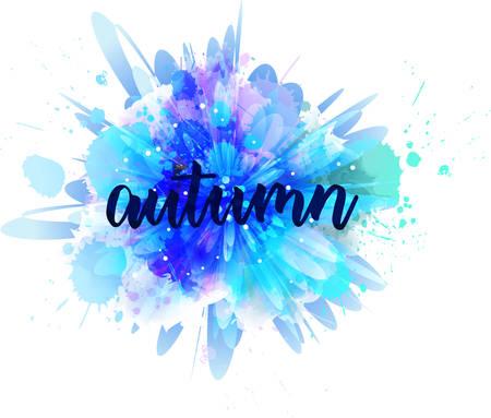 Herbst - handgeschriebene moderne Kalligraphiebeschriftung auf abstraktem Aquarellspritzen. Saison-Abbildung. Blau gefärbt.