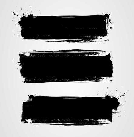 Set di tre striscioni grunge neri per il tuo design. Modelli di sfondo dipinti astratti. Banner orizzontali Vettoriali