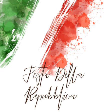 Abstract watercolor paint splashes in Italy flag colors. Template for national holiday or celebration background. Ilustração