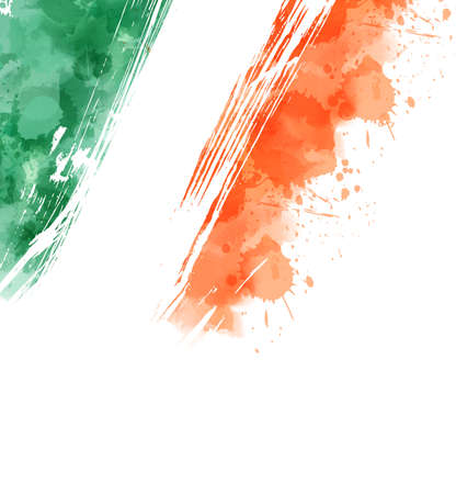Watercolor background with paint splashes in Ireland flag colors. Template background for Irish national holidays. Holiday template background - for national holidays banner, invitation, postcard, background, poster.