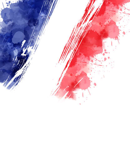 Watercolor abstract splashes background in France flag colors. Template for national holidays or celebration background. Holiday template background for banner, invitation, postcard, background, poster. Illustration