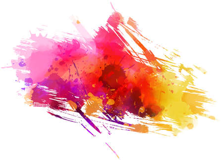 Multicolored watercolor painted grunge brushed background - template for your designs. Purple, pink and orange colored