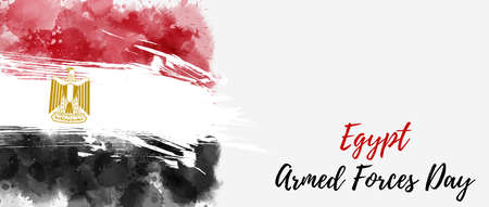 Egypt Armed forces day holiday background. Abstract grunge watercolor flag. Template for holiday banner, invitation, flyer, etc. 向量圖像