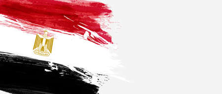 Abstract flag of Egypt. Template for holiday banner, invitation, flyer, etc. Abstract grunge watercolor flag background.