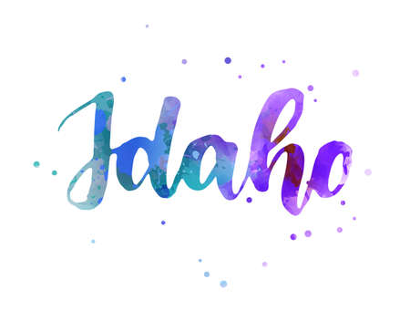 Idaho - inspirational handwritten brush lettering. Calligraphy watercolor painted text. Typography template for banners, badges, postcard, t-shirt, prints, posters. Blue and purple colored. Иллюстрация