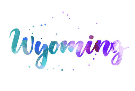 Wyoming - inspirational handwritten brush lettering. Calligraphy watercolor painted text. Typography template for banners, badges, postcard, t-shirt, prints, posters. Blue and purple colored.  イラスト・ベクター素材