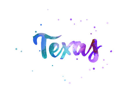 Texas - inspirational handwritten brush lettering. Calligraphy watercolor painted text. Typography template for banners, badges, postcard, t-shirt, prints, posters. Blue and purple colored.