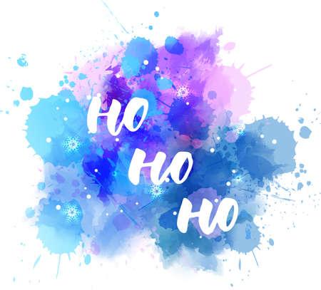 Ho ho ho - decoratieve kerstvakantie handgeschreven kalligrafie handlettering. Op aquarel blauwe en paarse verf splash vlek met sneeuwvlokken. Xmas concept illustratie.