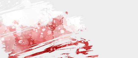 Abstract grunge Poland flag painted with watercolor paint splashes. Template for Polish national holiday background.
