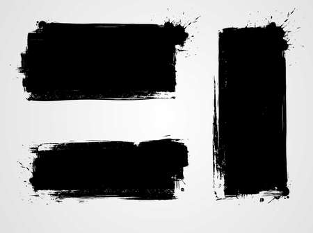 Set of three black grunge banners for your design. Abstract painted background templates.  Иллюстрация