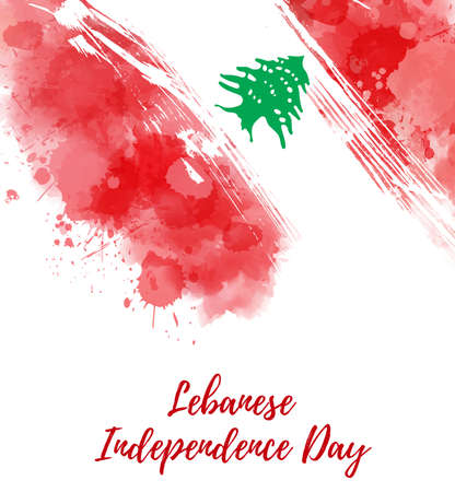 Lebanese Independence day - abstract watercolor splashes flag of Lebanon. Template for national holiday design -  invitation, poster, flyer, banner, etc.  Ilustração