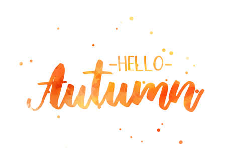 Hello autumn - handwritten modern calligraphy lettering. Season illustration. Orange colored.