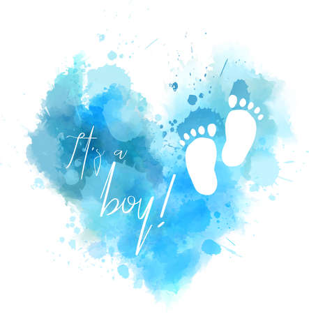 It's a boy - inspirational handwritten modern calligraphy lettering on watercolor painted heart. Template typography for t-shirt, prints, banners, badges, posters, postcards, etc.