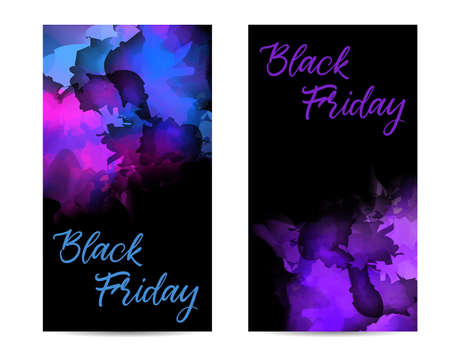 Black Friday - abstract multicolored watercolor splash banners. Sale promotion template concept.