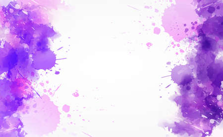 Square background with colorful watercolor imitation splash blots frame. Template for your designs. Purple and pink colored.