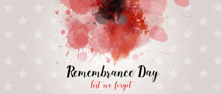 Remembrance Day. Lest we forget. Banner with abstract watercolor painted poppy - remembrance day symbol. Horizontal holiday banner template