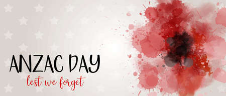 Remembrance day symbol. Anzac Day. Lest we forget lettering. Red watercolor poppy. Horizontal banner template