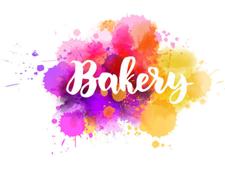 Bakery - handwritten modern calligraphy lettering. Abstract background from watercolor splashes.